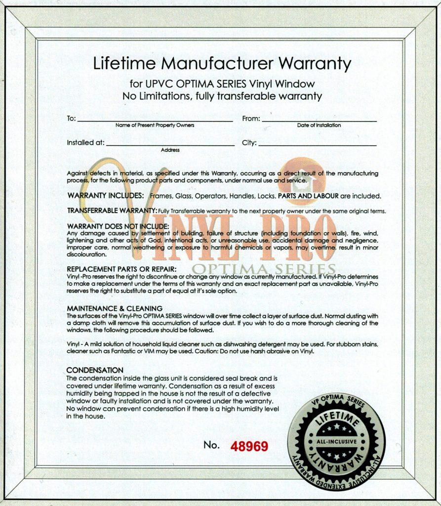 Lifetime Manufacturer Warranty